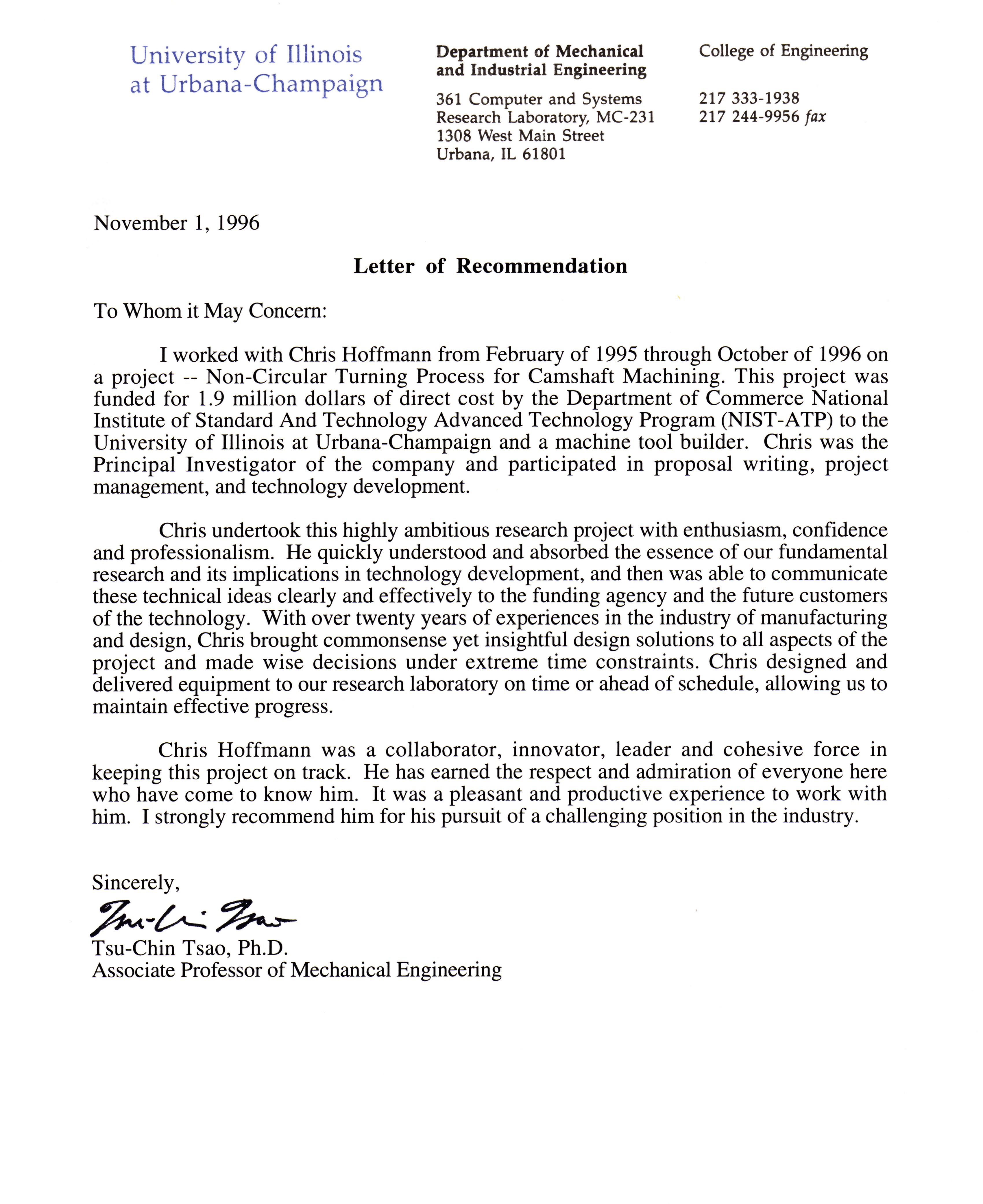 Recommendation letter for mechanical engineering student